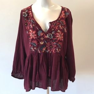 American Eagle Outfitters Peasant Embroider Top